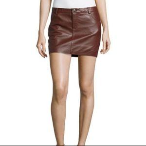 Haute Hippie Leather Mini Skirt Burgundy Sz 6
